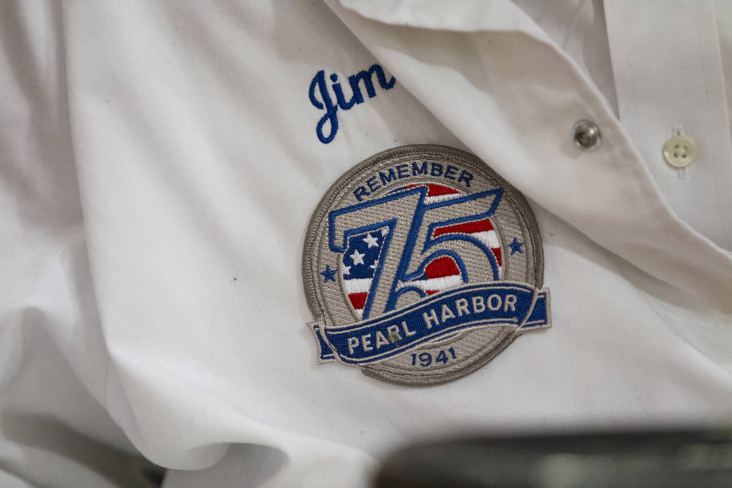 The jacket of Pearl Harbor survivor, Lt. Jim Downing, during a Las Vegas City Council meeting where he was recognized at Las Vegas City Hall, Wednesday, Dec. 6, 2017. (Erik Verduzco/Las Vegas Revi ...