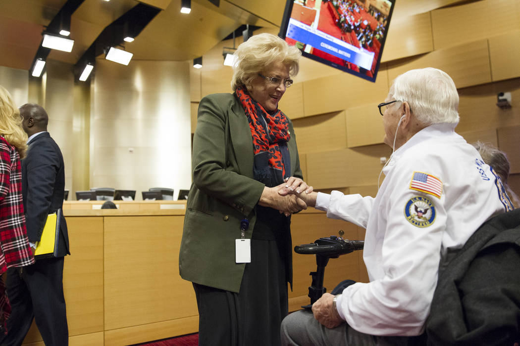 Las Vegas Mayor Carolyn Goodman with Pearl Harbor survivor Lt. Jim Downing before he was recognized during a Las Vegas City Council meeting at Las Vegas City Hall, Wednesday, Dec. 6, 2017. (Erik V ...