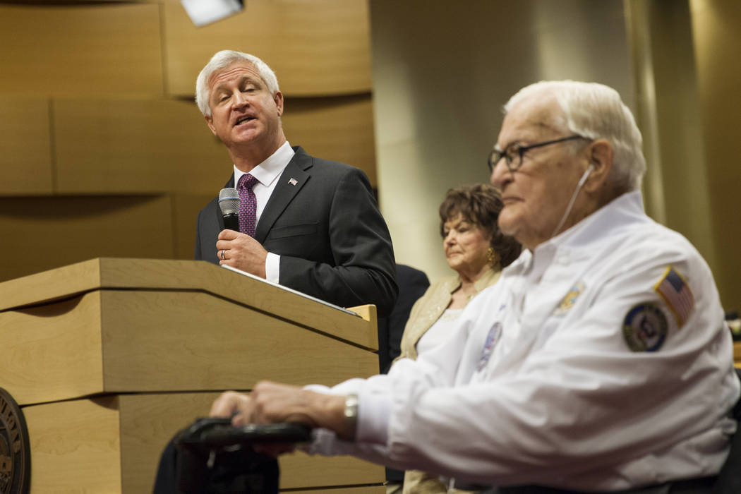 Councilman Steve Seroka, left, recognizes Pearl Harbor survivor Lt. Jim Downing during a Las Vegas City Council meeting at Las Vegas City Hall, Wednesday, Dec. 6, 2017. (Erik Verduzco/Las Vegas Re ...