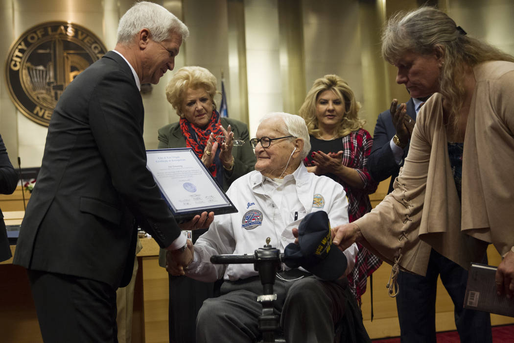 Pearl Harbor survivor Lt. Jim Downing, center, during a Las Vegas City Council meeting where he was recognized at Las Vegas City Hall, Wednesday, Dec. 6, 2017. (Erik Verduzco/Las Vegas Review-Journal)