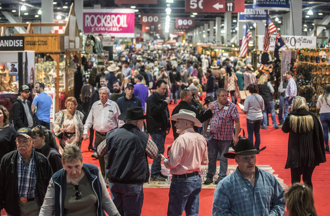 the south hall of the las vegas convention center is packed with shoppers during cowboy christmas