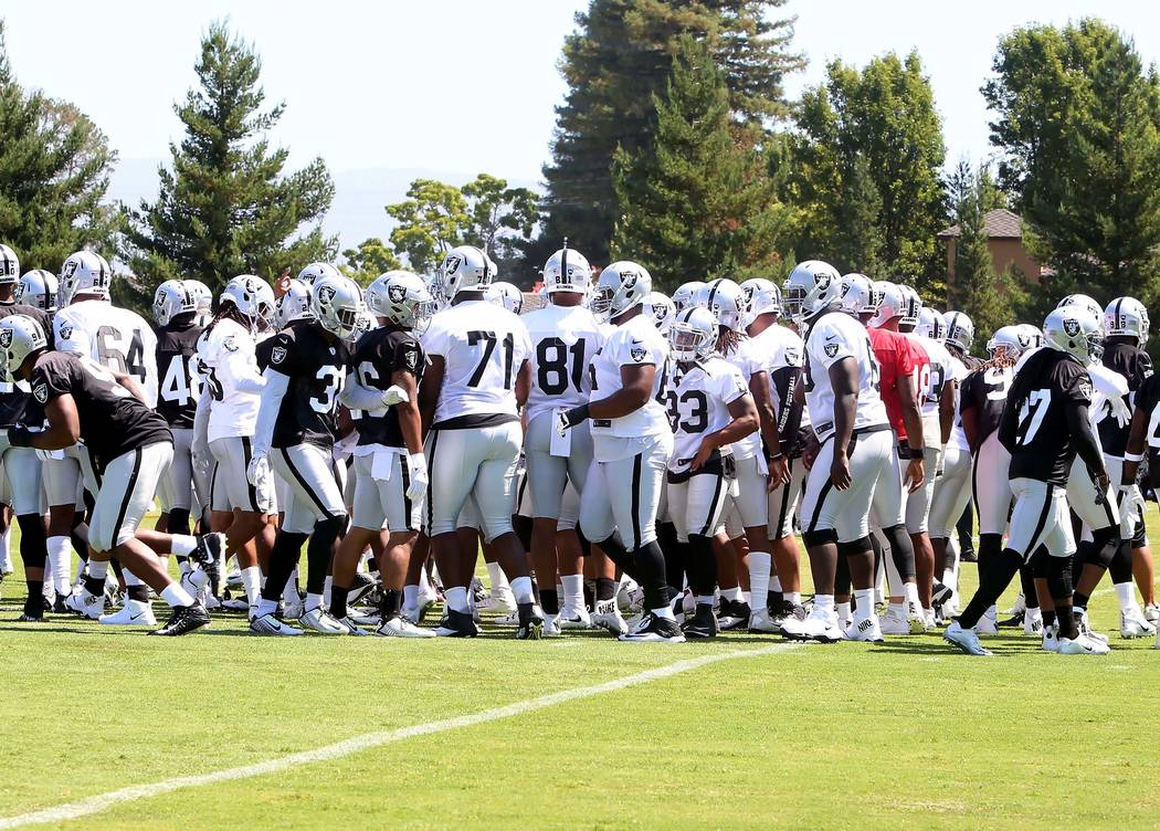 The Oakland Raiders players leave a practice field. Bizuayehu Tesfaye Las Vegas Review-Journal @bizutesfaye
