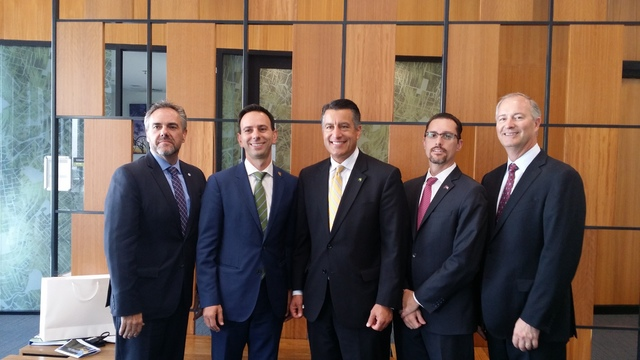 From left to right: Dale Erquiaga, Chief Strategy Officer for Governor Brian Sandoval; David Camerlengo, the Trade Commissioner for the State of Queensland based in the United States;  Gov. Brian  ...