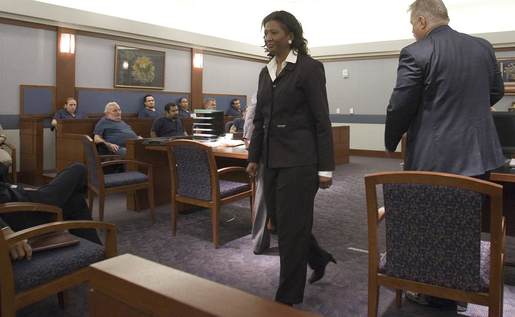 Former county commissioner Lynette Boggs leaves Las Vegas Justice Court, Thursday morning, June 7, 2007.  Boggs appeared in court to face felony charges of lying on her campaign documents. (Las Ve ...