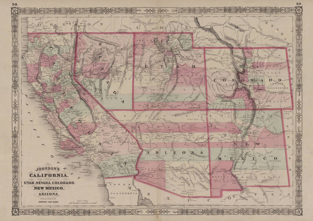 A map from 1864 shows the state of California and territories of Nevada, Arizona, Colorado, New Mexico and Utah. (UNLV Special Collections)