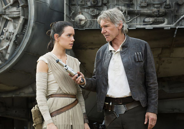 "Daisy Ridley and Harrison Ford star in ""Star Wars: The Force Awakens,"" now on Blu-ray and DVD."