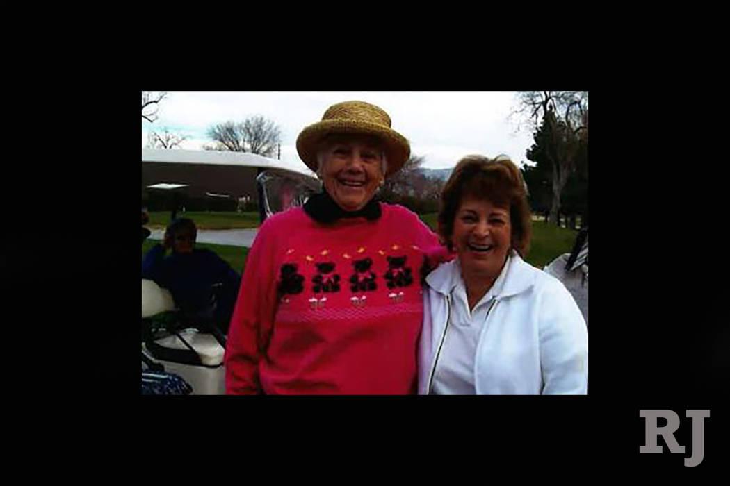 Former Las Vegas Women's Golf Association club champions Barb Christensen and Sally Allen (right) are shown following a tournament at Las Vegas Golf Club. Brian Hurlburt