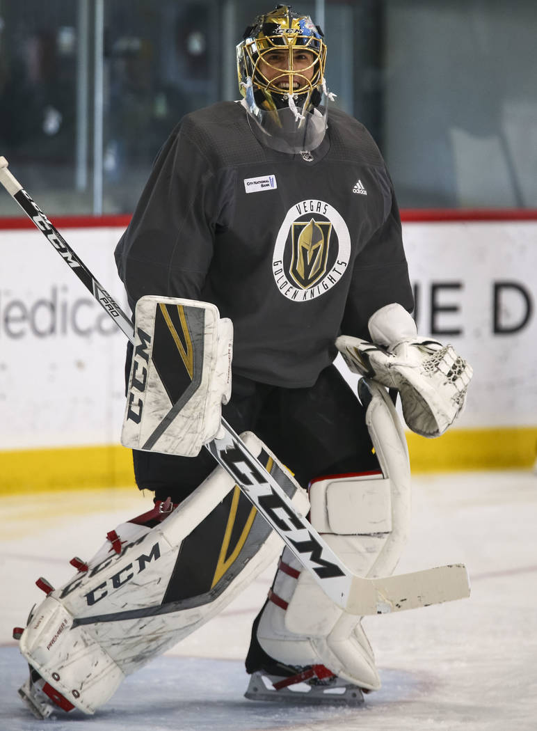 Vegas Golden Knights goalie Marc-Andre Fleury on the ice during the NHL team's practice at the City National Arena in Las Vegas, Wednesday, Dec. 6, 2017. Richard Brian Las Vegas Review-Journal @ve ...