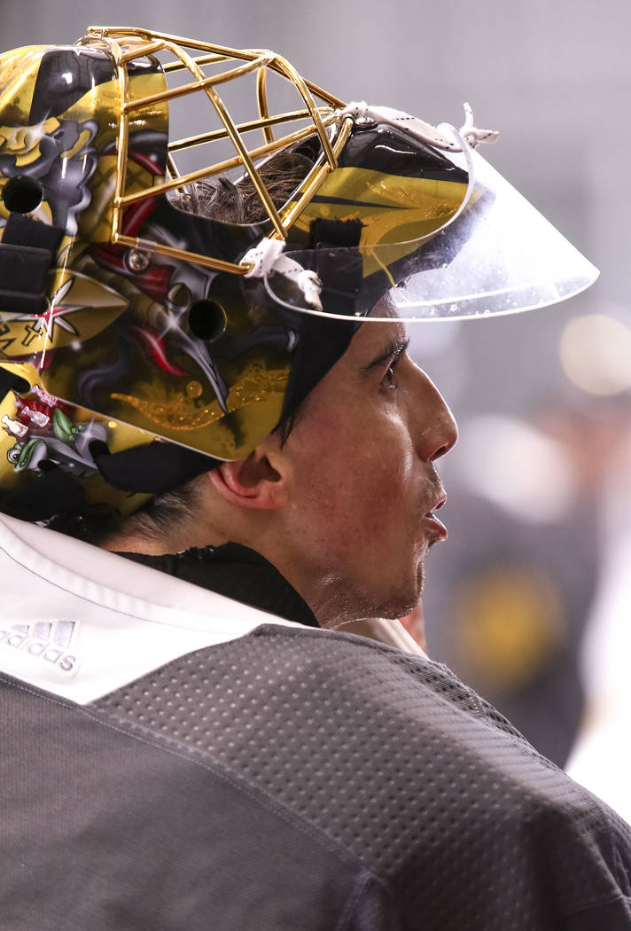 Vegas Golden Knights goalie Marc-Andre Fleury (29) on the ice during the NHL team's practice at the City National Arena in Las Vegas, Wednesday, Dec. 6, 2017. Richard Brian Las Vegas Review-Journa ...