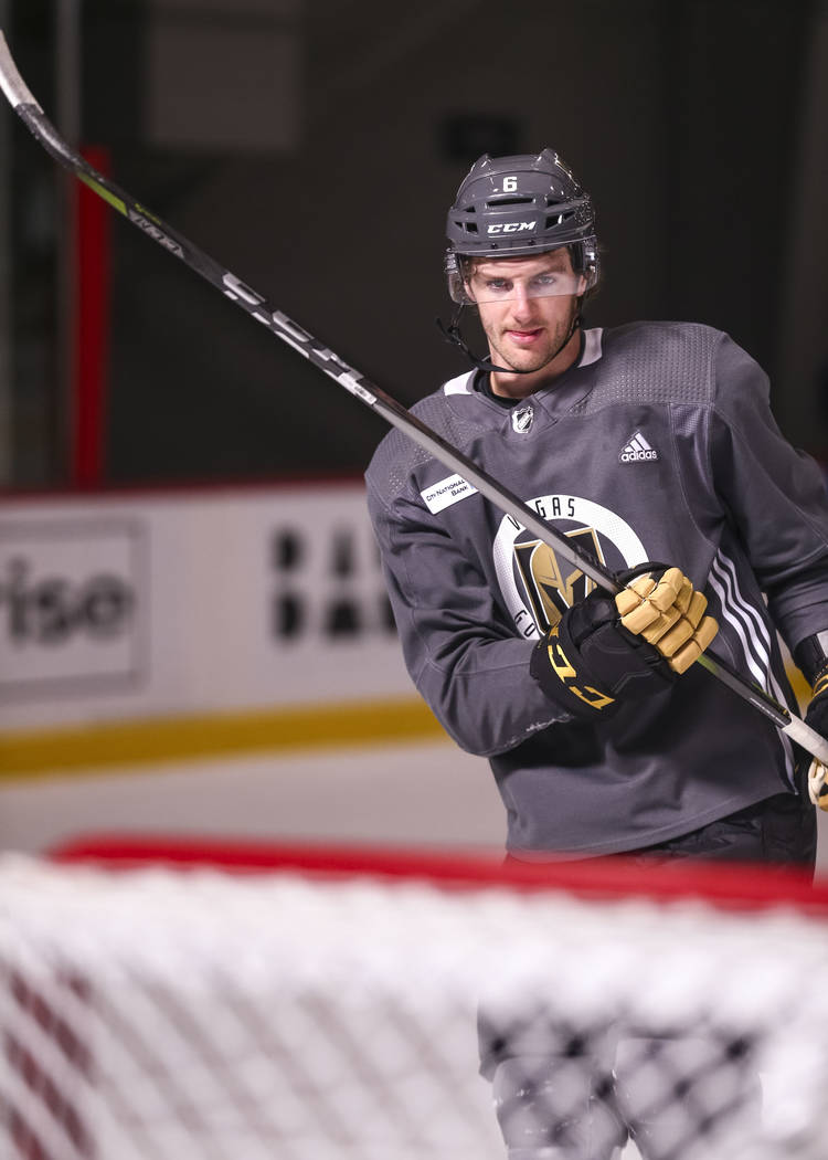 Vegas Golden Knights defenseman Colin Miller (6) on the ice during the NHL team's practice at the City National Arena in Las Vegas, Wednesday, Dec. 6, 2017. Richard Brian Las Vegas Review-Journal  ...