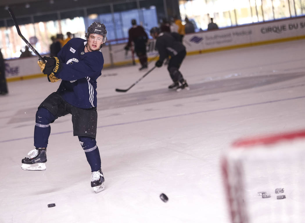 Vegas Golden Knights left wing Brendan Leipsic (13) takes a slap shot during the NHL team's practice at the City National Arena in Las Vegas, Wednesday, Dec. 6, 2017. Richard Brian Las Vegas Revie ...