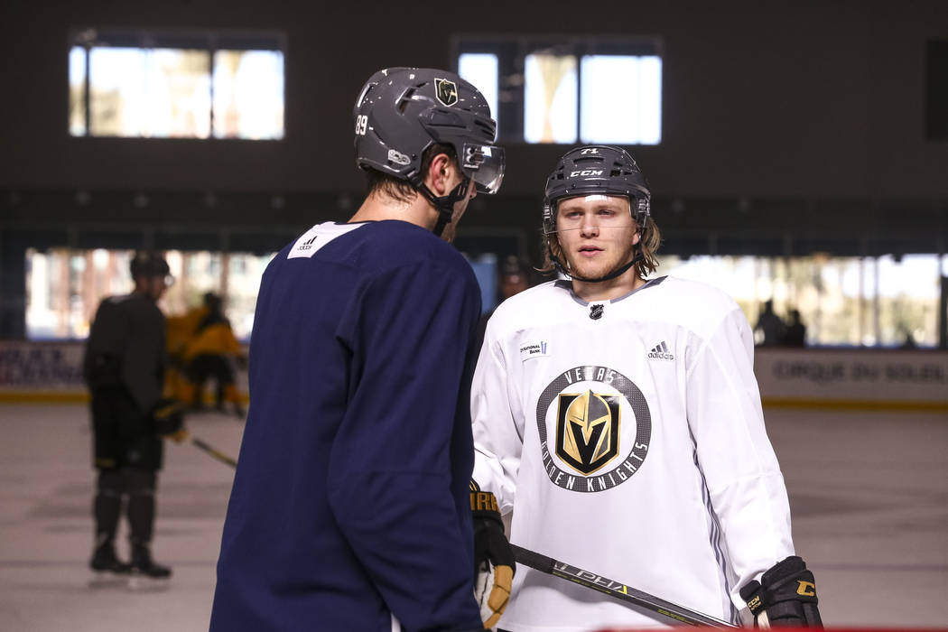 Vegas Golden Knights right wing Alex Tuch (89) and center William Karlsson (71) on the ice during the NHL team's practice at the City National Arena in Las Vegas, Wednesday, Dec. 6, 2017. Richard  ...