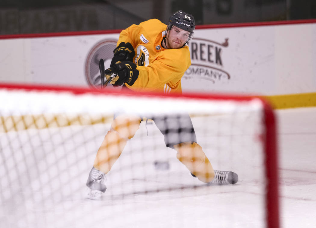 Vegas Golden Knights center Oscar Lindberg (24) takes a shot during the NHL team's practice at the City National Arena in Las Vegas, Wednesday, Dec. 6, 2017. Richard Brian Las Vegas Review-Journal ...