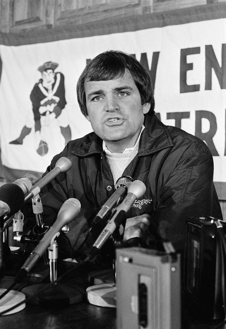New England Patriots Coach Ron Meyer talks with newsmen on Wednesday, Nov. 17, 1982 at Schaeffer Stadium in Foxboro, Mass., where he discussed getting the team back in shape after a tentative agre ...