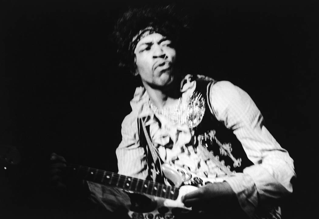 American rock guitarist Jimi Hendrix performing with The Jimi Hendrix Experience at the Monterey Pop Festival, California, USA, June 18, 1967. (Bruce Fleming/AP Images)