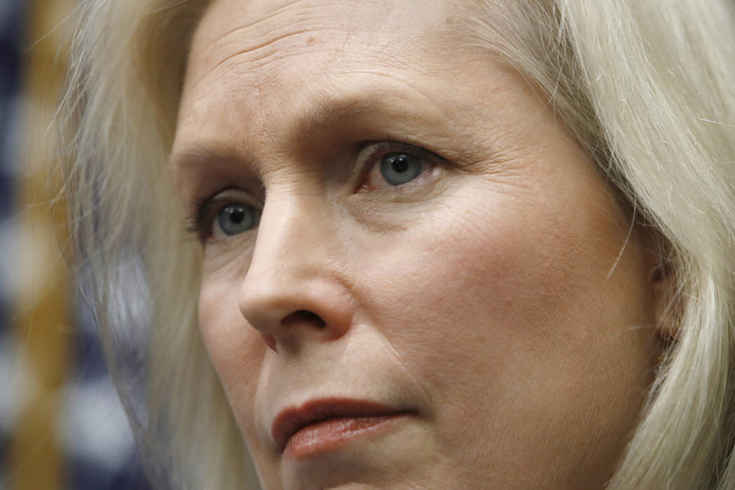 Sen. Kirsten Gillibrand, D-N.Y., listens during a news conference on sexual harassment, Wednesday, Dec. 6, 2017, on Capitol Hill in Washington. Sen. Al Franken's support among his fellow Democrats ...