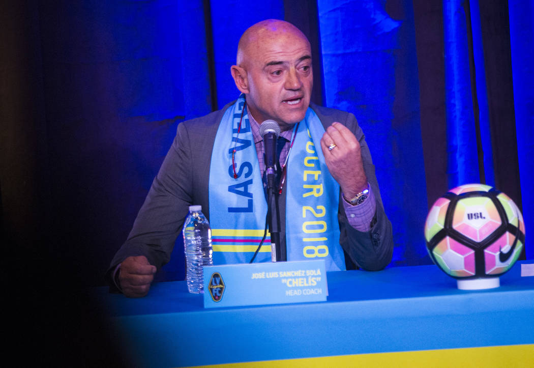 Jose Luis Sanchez Sola, also known as as Chelis, speaks during his first press conference as coach of the Las Vegas Lights FC at Inspire Theater in downtown Las Vegas on Tuesday, Nov. 14, 2017. Ch ...