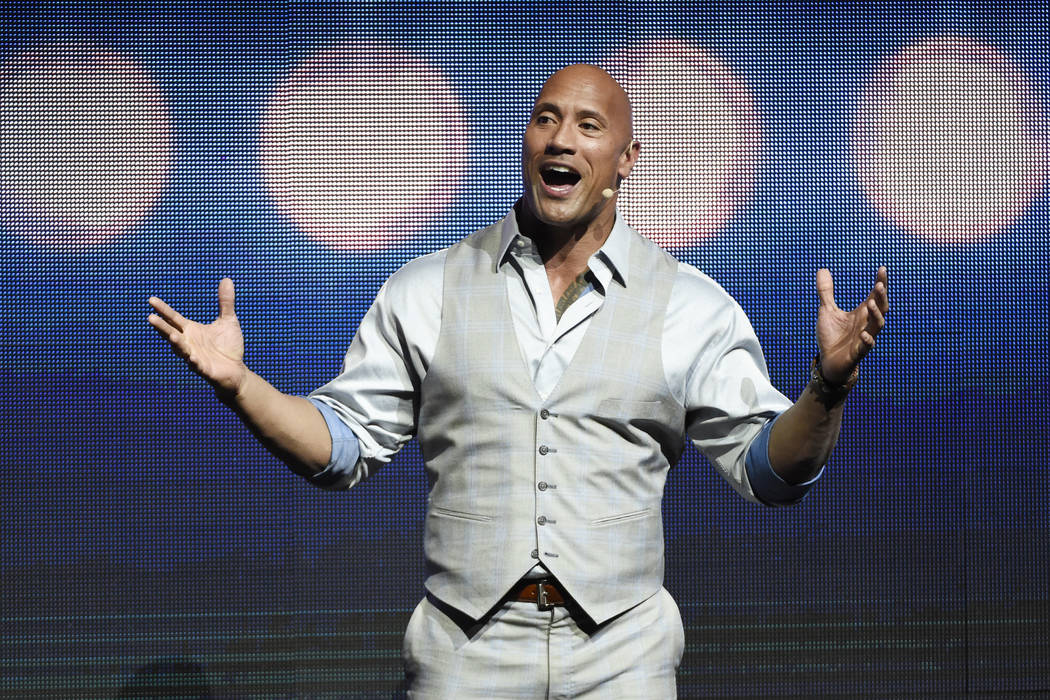 "Dwayne Johnson, a cast member in the upcoming film ""Baywatch,"" addresses the audience during the Paramount Pictures presentation at CinemaCon 2017 at Caesars Palace on Tuesday, March 28, 2017, in  ..."