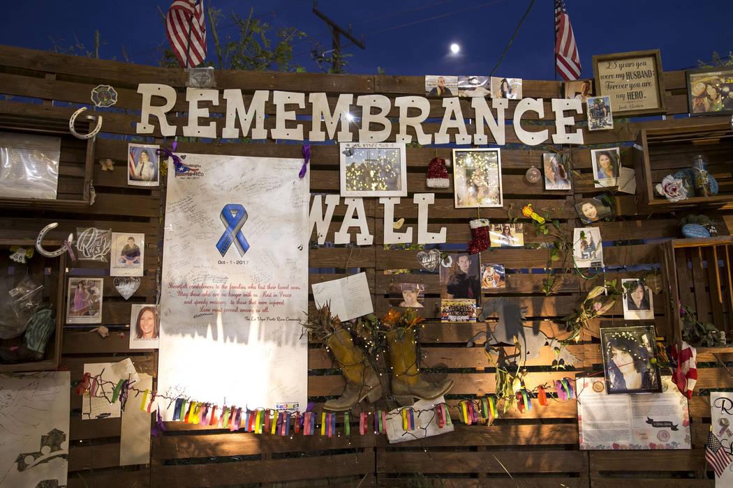 The Remembrance wall at the Community Healing Garden in downtown Las Vegas, Thursday, Nov. 30, 2017. Richard Brian Las Vegas Review-Journal @vegasphotograph