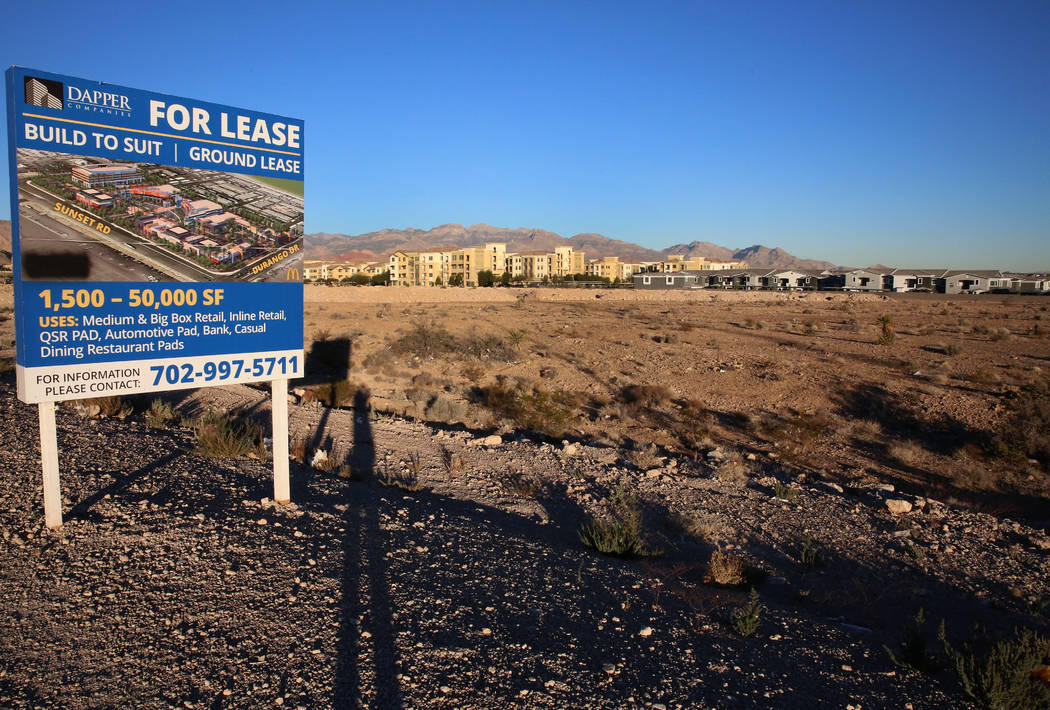 A retail and office complex is slated to be built on vacant land across from IKEA on Sunset Road and Durango Drive, pictured on Dec. 7, 2017 in Las Vegas. Bizuayehu Tesfaye Las Vegas Review-Jour ...