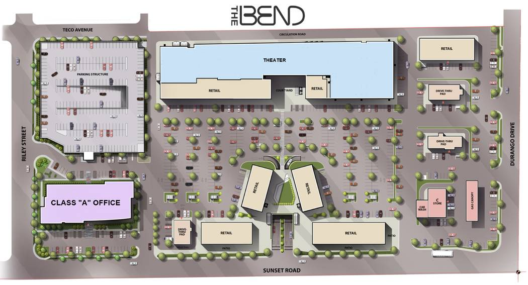 A site plan for The Bend, a retail and office complex that would be built on Sunset Road at Durango Drive in Las Vegas. (MagnuM Opes Corp.)