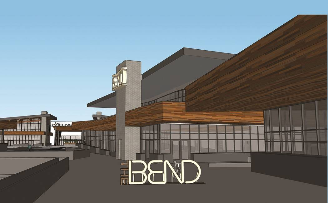 The Bend, a project on Sunset Road at Durango Drive in Las Vegas, would feature retail space and a five-story office building. (Dapper Cos.)