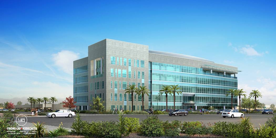 The Bend, a project on Sunset Road at Durango Drive in Las Vegas, would feature retail space and a five-story office building, a rendering of which is above. (MagnuM Opes Corp.)