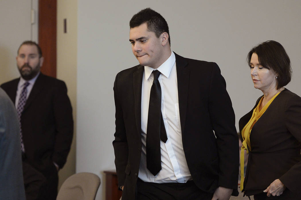 Osa Masina appears in court for his sentencing hearing at the Matheson Courthouse in Salt Lake City, Tuesday, Dec. 5, 2017. Masina, a suspended University of Southern California football player wh ...