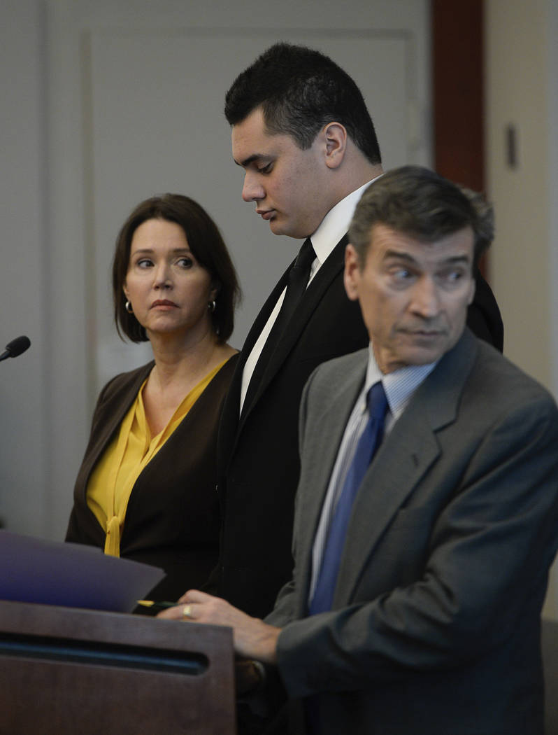 Osa Masina, center, appears with his defense attorneys Greg and Rebecca Skordas in court for his sentencing hearing at the Matheson Courthouse in Salt Lake City, Tuesday, Dec. 5, 2017. Masina, a s ...