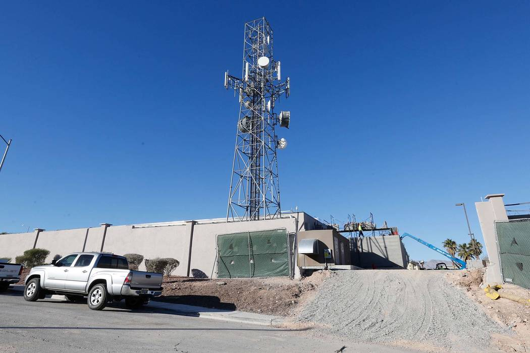 Construction continues at the Verizon switch building in North Las Vegas Thursday, Dec. 7, 2017. A company spokeswoman said the work will help the company eventually bring 5G to the region. Chitos ...