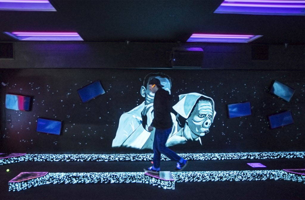 "Patrick Deloriea plays ""The Twilight Zone by Monster Mini Golf"" on Wednesday, Dec. 6, 2017, at Bally's hotel-casino, in Las Vegas. Benjamin Hager Las Vegas Review-Journal @benjam ..."