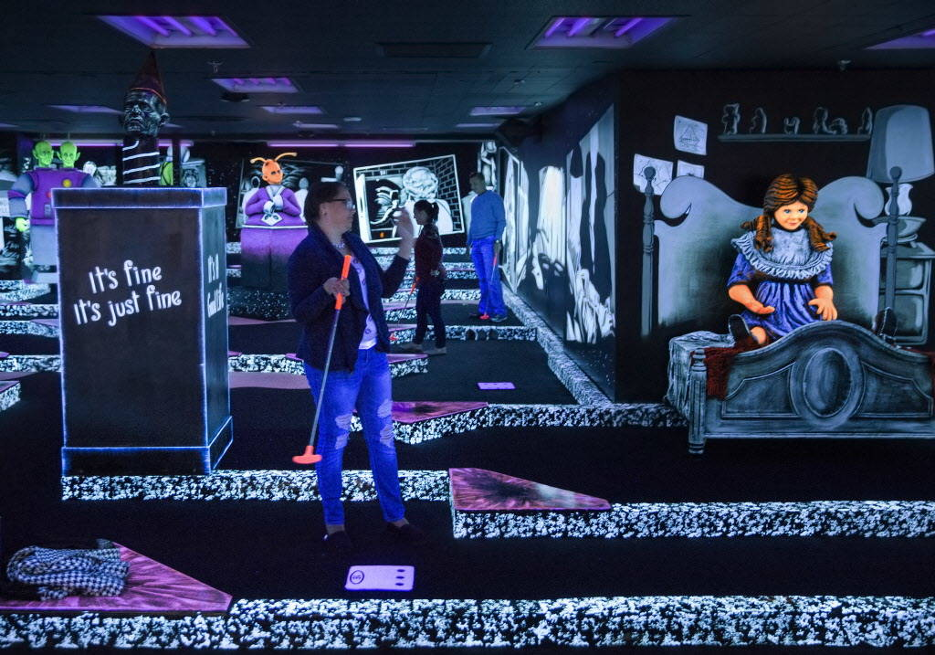 """Rebecca Hahn, left, plays """"The Twilight Zone by Monster Mini Golf"""" on Wednesday, Dec. 6, 2017, at Bally's hotel-casino, in Las Vegas. Benjamin Hager Las Vegas Review-Journal @ben ..."""