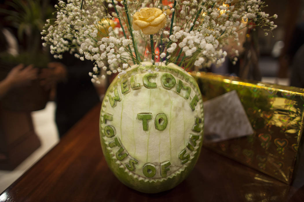 A carved watermelon at the new second location of Lotus of Siam, a thai restaurant, in Las Vegas, Sunday, Dec. 10, 2017. The restaurant held a birthday party for Chef Saipin Chutima that also doub ...