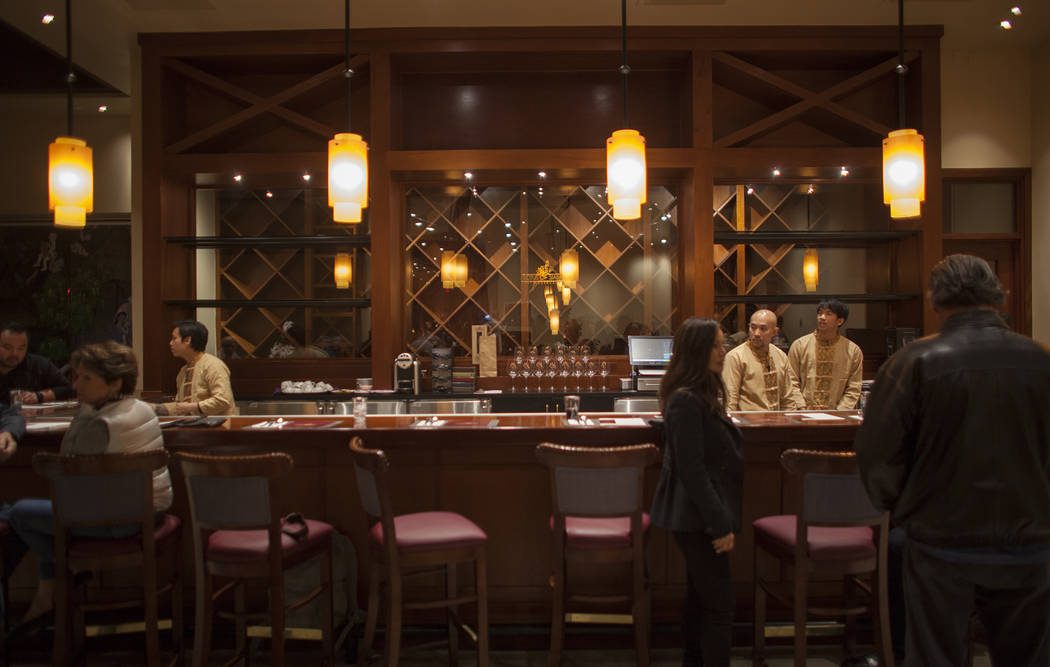 The bar at the new second location of Lotus of Siam, a thai restaurant, in Las Vegas, Sunday, Dec. 10, 2017. The restaurant held a birthday party for Chef Saipin Chutima that also doubled as a gra ...