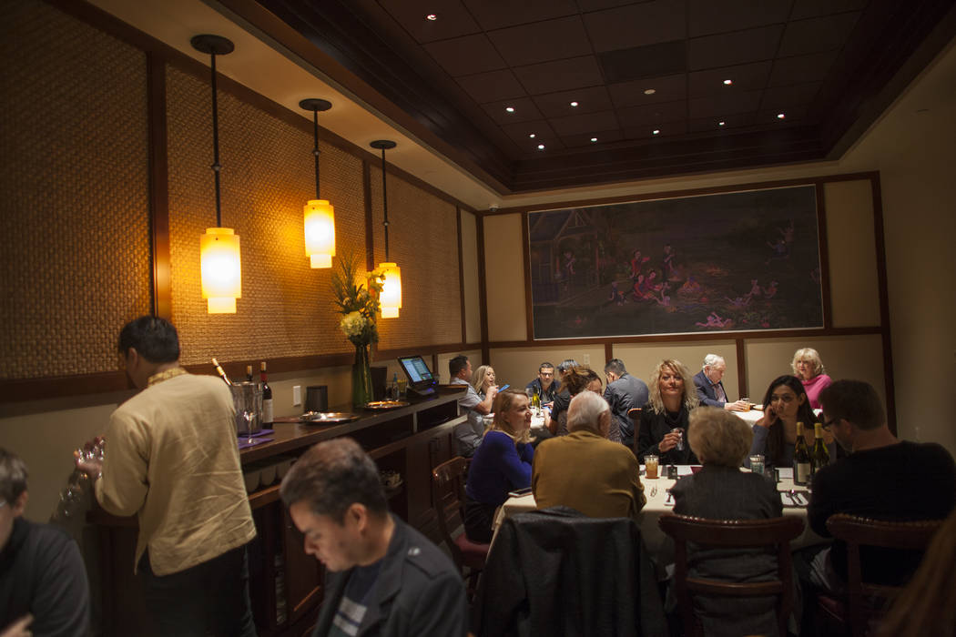 Guests wait for food in the panda room at the new second location of Lotus of Siam, a thai restaurant, in Las Vegas, Sunday, Dec. 10, 2017. The restaurant held a birthday party for Chef Saipin Chu ...