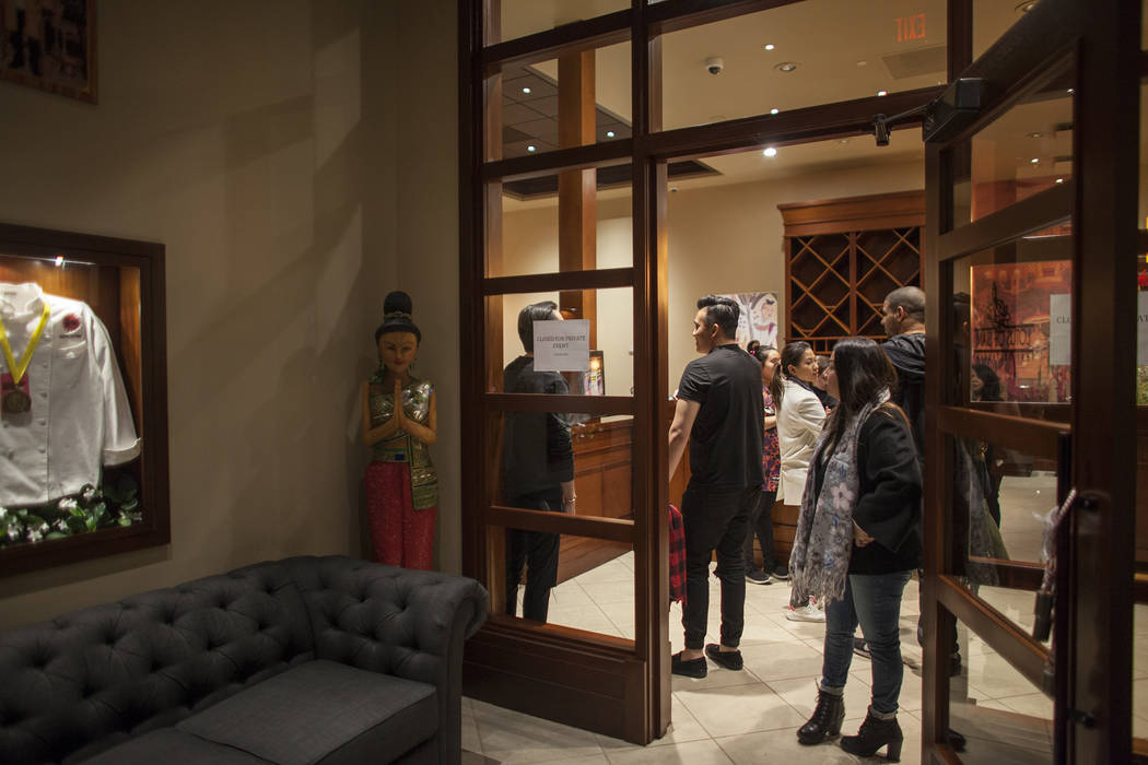 The entry area at the new second location of Lotus of Siam, a thai restaurant, in Las Vegas, Sunday, Dec. 10, 2017. The restaurant held a birthday party for Chef Saipin Chutima that also doubled a ...