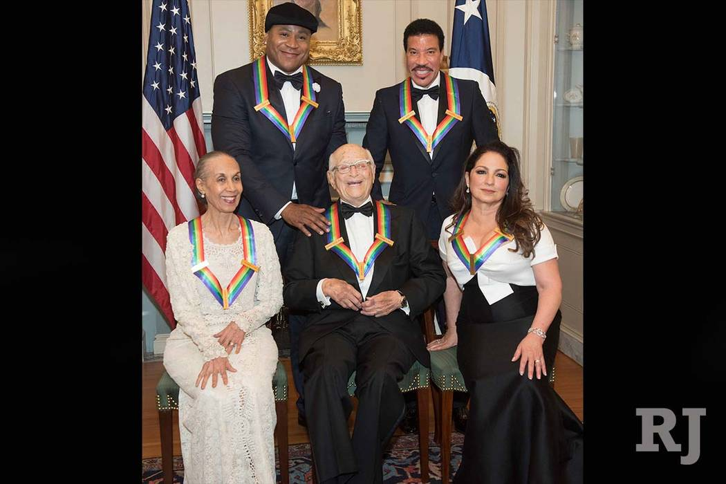 Front row from left, 2017 Kennedy Center Honorees Carmen de Lavallade, Norman Lear, and Gloria Estefan; back row from left, LL Cool J and Lionel Richie. (Kevin Wolf/AP)