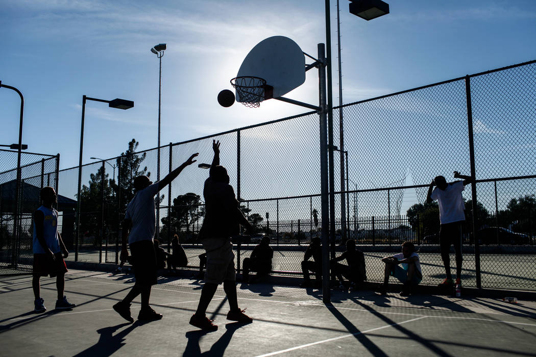 People play a pick-up basketball game at the Andre Agassi Boys and Girls Club in Las Vegas. (Joel Angel Juarez/Las Vegas Review-Journal) @jajuarezphoto
