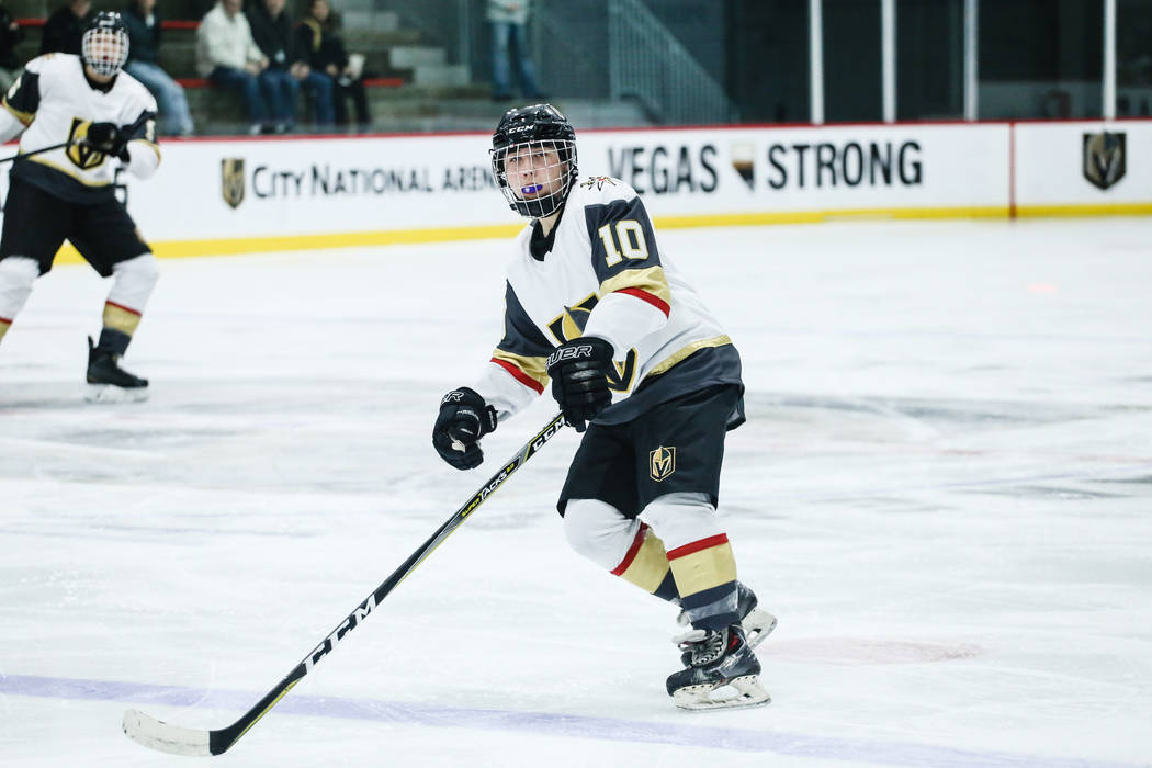 Vegas Jr. Golden Knights' Antonio Buck (10) skates on the rink during the third period of a hockey game against the Edison Chargers at City National Arena in Las Vegas, Friday, Dec. 8, 2017. Ediso ...