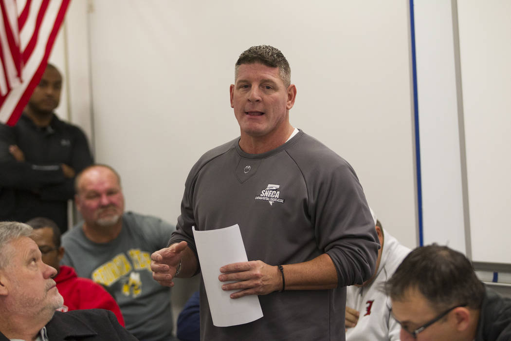 John Isola, head coach for the Legacy High School football team, during a Nevada Interscholastic Activities Association realignment committee meeting at Chaparral High School in Las Vegas, Thursda ...