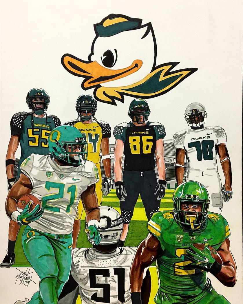 Oregon Ducks Multiple Football Uniforms Neal Portnoy Las Vegas Review Journal NealPortnoy