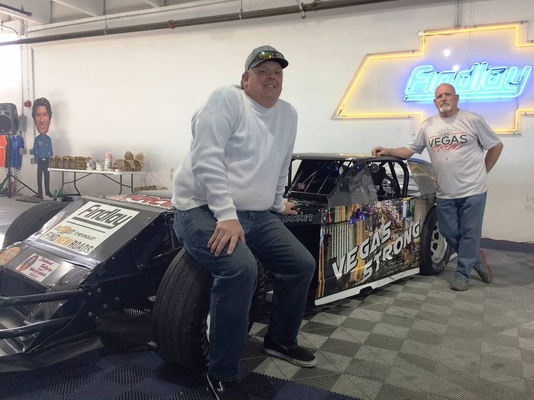 Findlay Grand American stock car racers, Pat Petrie, left, and Tom Fundstein were featured at the Thanksgiving weekend car show at Findlay Chevrolet. The two compete in Grand American racing event ...