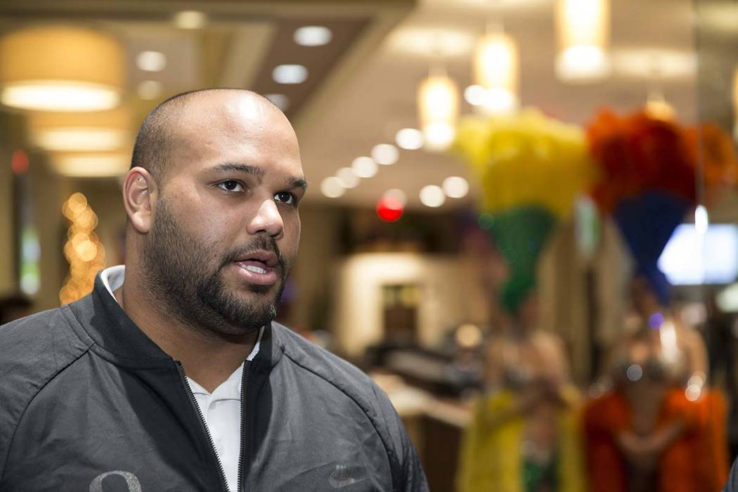 Oregon football player Tyrell Crosby during a Las Vegas Bowl press conference at the Maverick Helicopters headquarters on Las Vegas Boulevard South in Las Vegas, Tuesday, Dec. 12, 2017. Erik Verdu ...