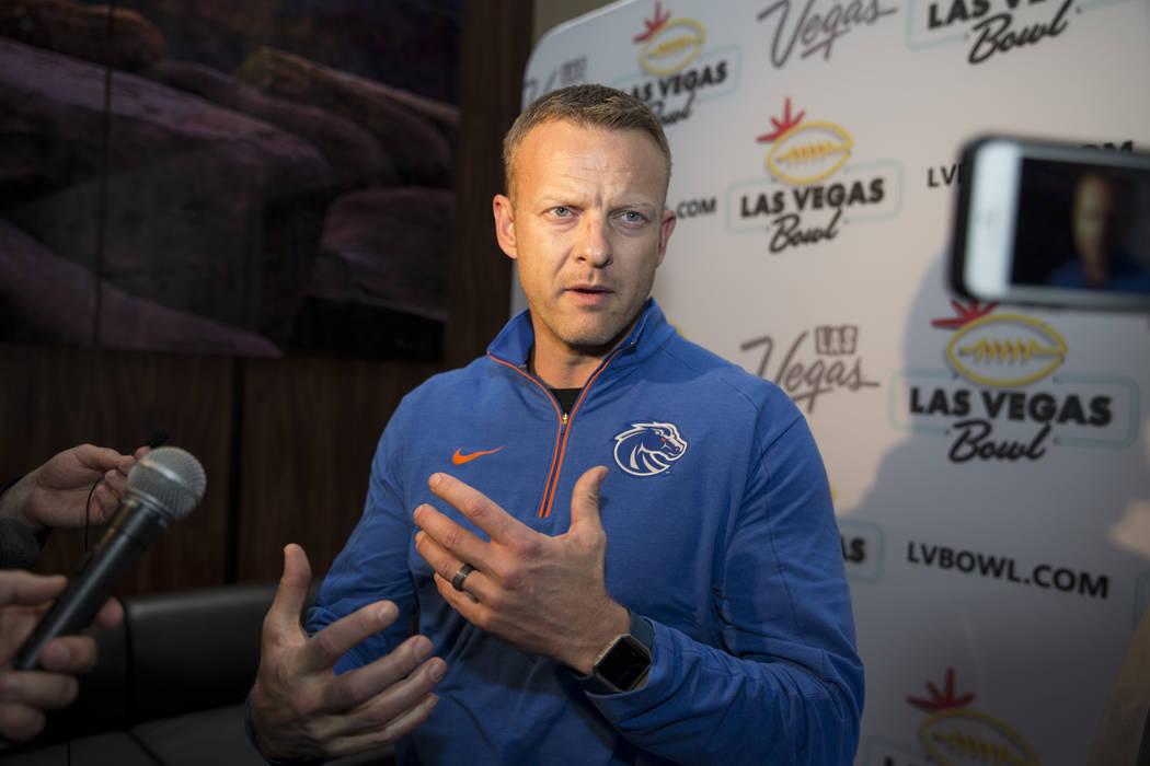 Boise State football head coache Bryan Harsin during a press conference at Maverick Helicopters headquarters in Las Vegas, Tuesday, Dec. 12, 2017. Erik Verduzco Las Vegas Review-Journal @Erik_Verduzco