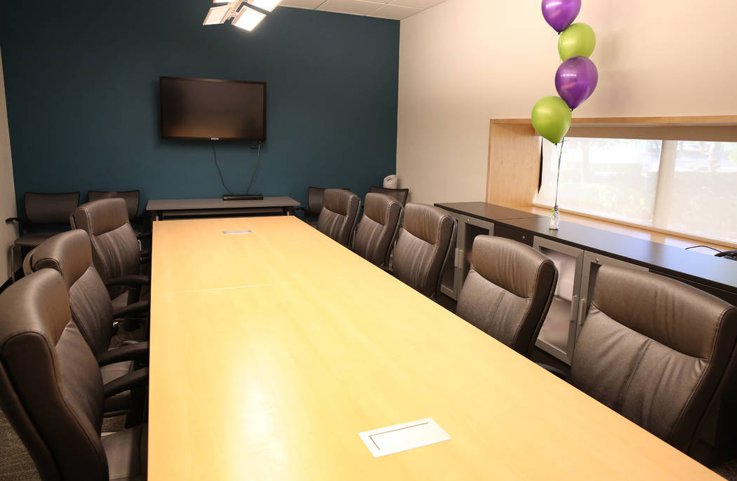 The group therapy room for batterers at the new Safe Nest office and treatment center at 3900 Meadows Lane on Thursday, Dec 7, 2017, in Las Vegas. The new location will provide the ability to welc ...