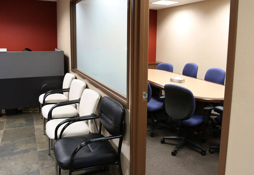 Administrative office, left, and the group therapy room at the new Safe Nest office and treatment center at 3900 Meadows Lane photographed on Thursday, Dec 7, 2017, in Las Vegas. The new location  ...
