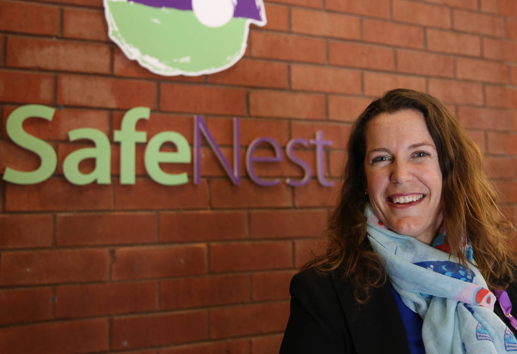 Liz Ortenburger, the CEO of the domestic violence shelter Safe Nest, at the new office and treatment center at 3900 Meadows Lane on Thursday, Dec 7, 2017, in Las Vegas. The new location will provi ...