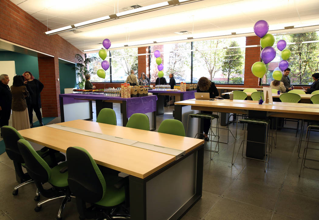 The community room at the new Safe Nest office and treatment center at 3900 Meadows Lane photographed on Thursday, Dec 7, 2017, in Las Vegas. The new location will provide the ability to welcome n ...