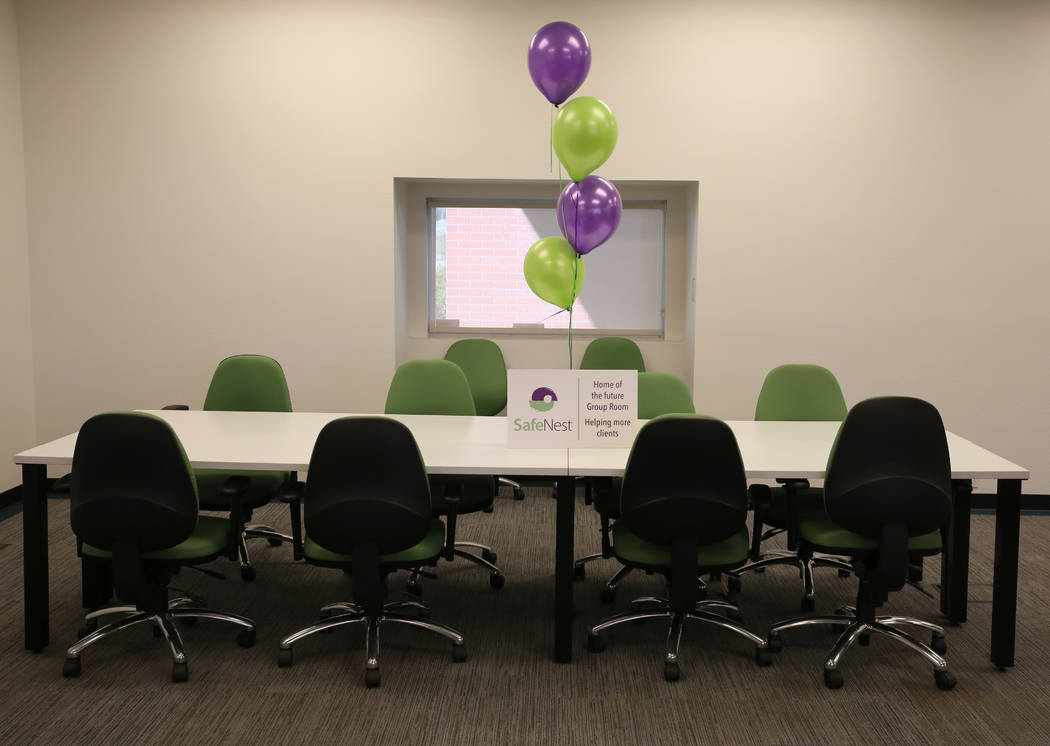 The group counseling room at the new Safe Nest office and treatment center at 3900 Meadows Lane photographed on Thursday, Dec 7, 2017, in Las Vegas. The new location will provide the ability to we ...