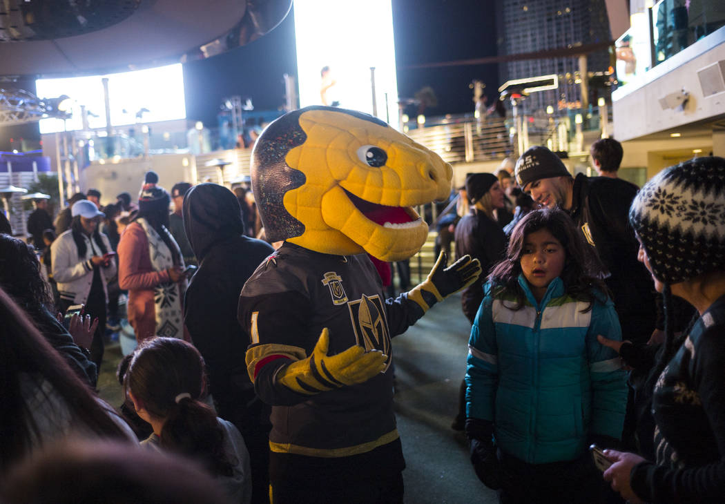 "Golden Knights mascot Chance greets fans during the ""Night With the Golden Knights"" event at the ice rink at The Cosmopolitan of Las Vegas in Las Vegas on Wednesday, Dec. 6, 2017 ..."